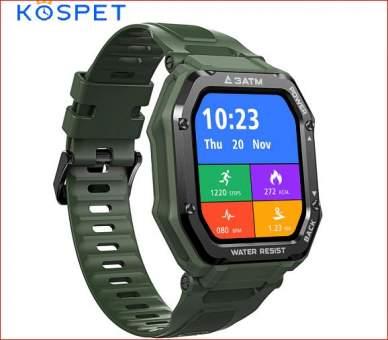 Смарт часы Kospet Rock зеленые водозащита 3АТМ (30м) противоударные